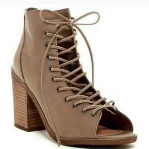 Steve Madden Tan Tempting Lace Up Booties